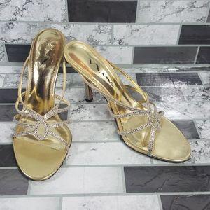 Nina Gold Slip On Heels